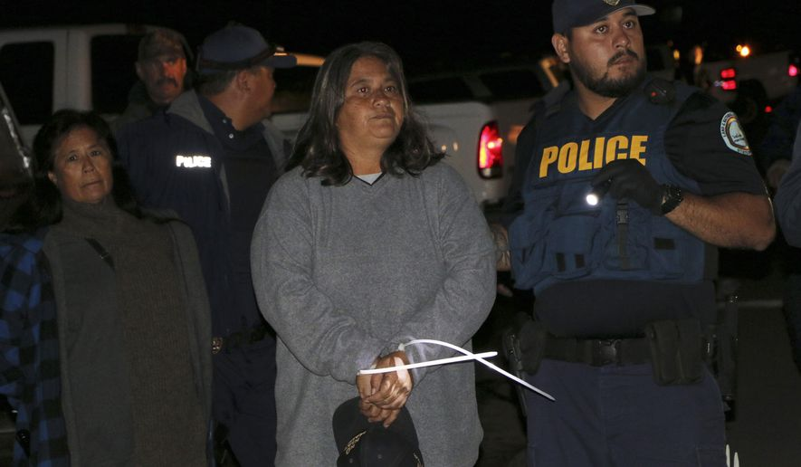 FILE - In this Sept. 9, 2015, file photo provided by the Hawaii state Department of Land and Natural Resources, officers arrest a protester at Mauna Kea, Hawaii. Cases are being dismissed against the people who were arrested or cited for violating an emergency rule aimed at stopping telescope protesters from camping on the Big Island's Mauna Kea, Hawaii County's top prosecutor said Tuesday, Oct. 13. (Dan Dennison/Hawaii state Department of Land and Natural Resources via AP, File)