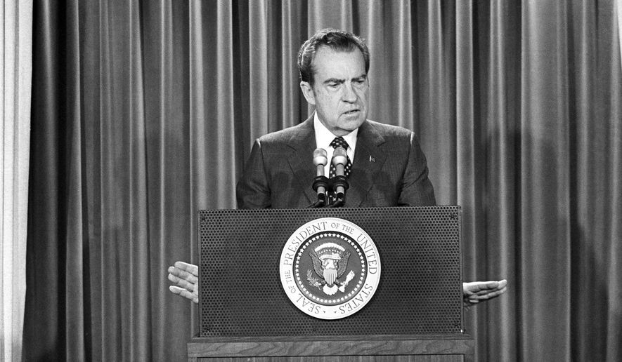 U.S. President Richard Nixon at his first news conference in nearly four monthsat the Wite House, Jan. 31, 1973. Nixon disclosed he was sending Henry Kissinger to Hanoi and also said he would meet sometime in spring at the western White House with South Vietnam President Nguyen Van Thieu. (AP Photo) ** FILE **