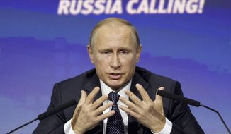 """How is it possible to work together?"" Russian President Vladimir Putin asked at an investment forum in Moscow. ""I think some of our partners simply have mush for brains. They do not have a clear understanding of what really happens in [Syria] and what goals they are seeking to achieve."" (Associated Press)"