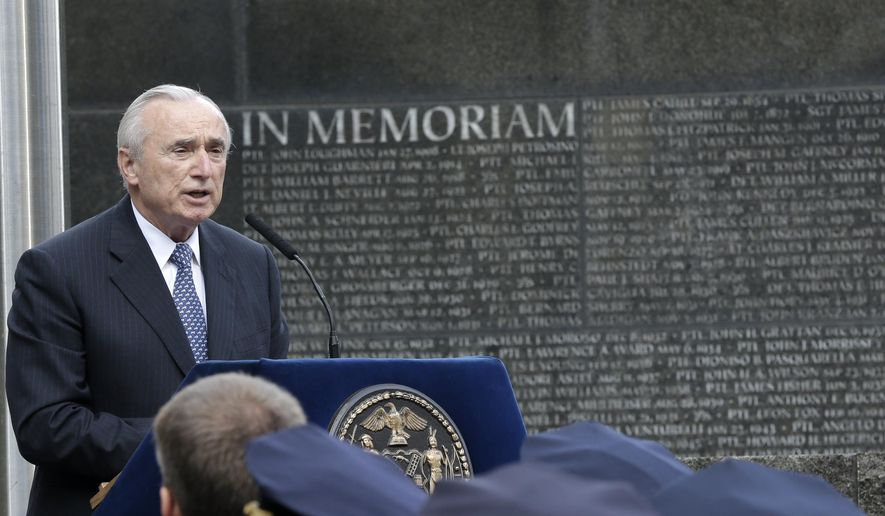 New York Police Department Commissioner William Bratton speaks during a rededication ceremony at the Police Memorial Wall in Battery Park, Tuesday, Oct. 13, 2015, in New York. Every year the NYPD holds a ceremony to honor officers who died in the line of duty in the past year. (AP Photo/Mary Altaffer)