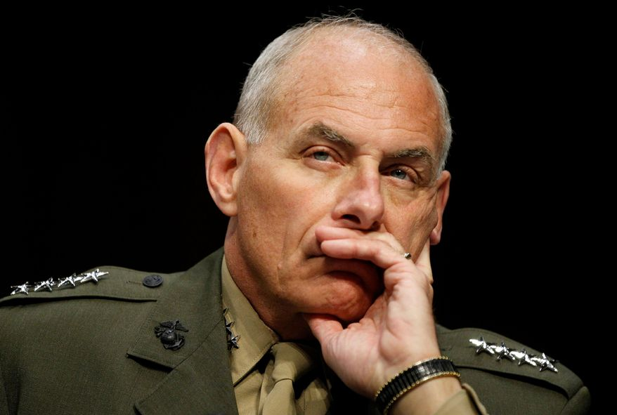"""As commander of U.S. Southern Command, Marine Gen. John F. Kelly told the Senate Armed Services Committee in 2015, """"In my opinion, the relative ease with which human smugglers moved tens of thousands of people to our nation's doorstep also serves as another warning sign: These smuggling routes are a potential vulnerability to our homeland."""" (Associated Press)"""