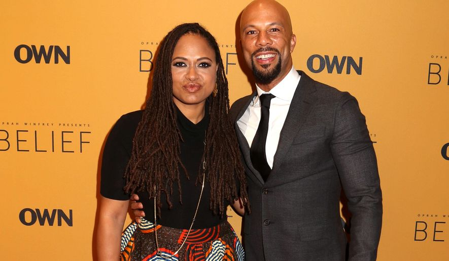 """Ava DuVernay, left, and Common attend the premiere of the Oprah Winfrey Network's (OWN) documentary series """"Belief"""", at The TimesCenter on Wednesday, Oct. 14, 2015, in New York. (Photo by Greg Allen/Invision/AP)"""
