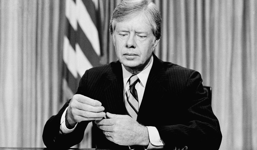 President Jimmy Carter prepares to address the American people on nationwide television from the Oval Office at the White House, April 25 ,1980 in Washington, on the failed mission to rescue the American hostages from Iran. (AP Photo)