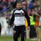 D.C. United head coach Ben Olsen looks on against the New York Red Bulls during the first half of an MLS playoff soccer match, Sunday, Nov. 2, 2014, in Harrison, N.J. (AP Photo/Adam Hunger)