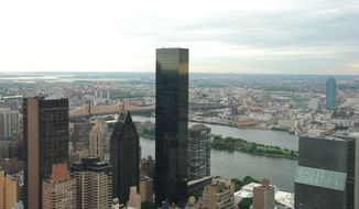 Trump World Tower - 845 United Nations Plaza in New York City - This residential tower lists 72 floors with extensive views of the East River and midtown Manhattan.  For a short time after its 2001 completion, this was the tallest all-residential tower in the world.  Photo: wikipedia.org