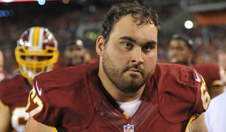 Washington Redskins guard Josh LeRibeus stands on the sideline during an NFL preseason football game against the Cleveland Browns Thursday, Aug. 13, 2015, in Cleveland. Washington won 20-17. (AP Photo/David Richard)