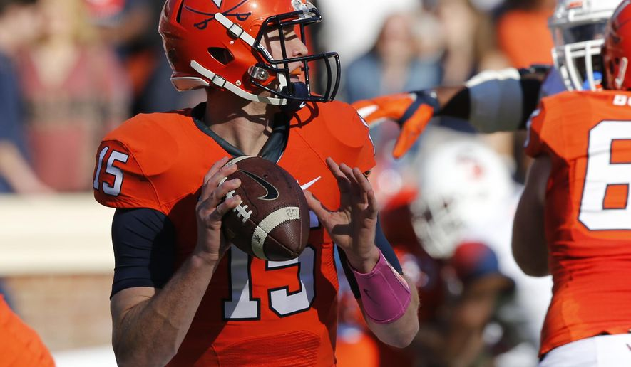Virginia quarterback Matt Johns (15) looks for a receiver during the first half of an NCAA college football game at Scott Stadium in Charlottesville, Va., Saturday, Oct. 17, 2015. Virginia won the game 44-38 in triple overtime. (AP Photo/Steve Helber)