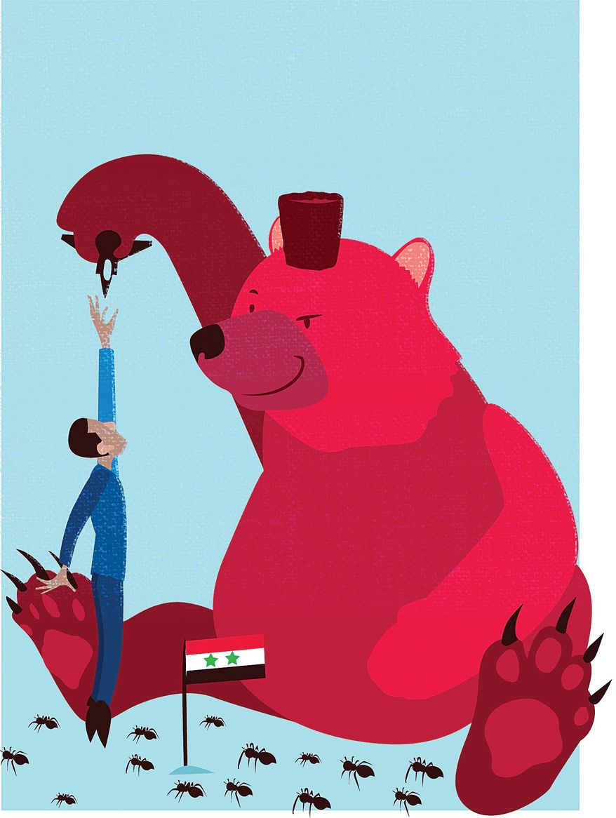 Illustration on Obama's situation with Russia in Syria by Linas Garsys/The Washington Times