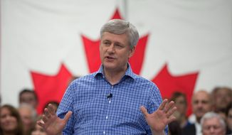 Stephen Harper hopes his Conservatives can fend off challenges so he can be the first Canadian prime minister in over a century to win four straight elections. (Associated Press)