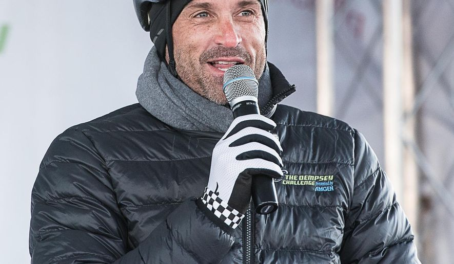 "Patrick Dempsey pumps up the crowd before a chilly start on the final day of the two-day bike-and-run fundraiser Sunday, Oct. 18, 2015, in Lewiston, Maine. The event is a fundraiser for The Patrick Dempsey Center for Cancer Hope & Healing at the Central Maine Medical Center. Dempsey is best known as a doctor nicknamed McDreamy on TV's ""Grey's Anatomy.""  (Andree Kehn/The Lewiston Sun-Journal via AP) MANDATORY CREDIT"