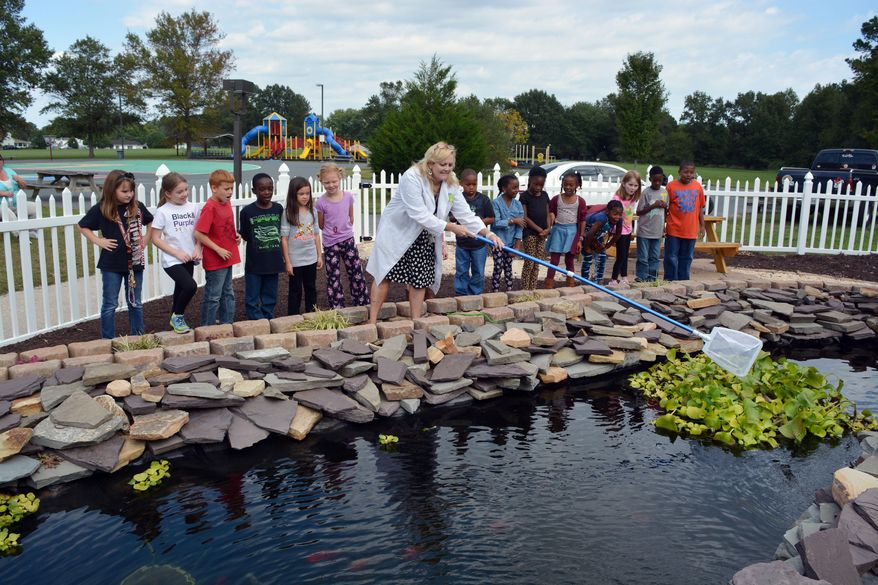 In this Oct. 8, 2015 photo, science teacher Beth Shockley-Lynch, center, works with students at a newly constructed pond at Snow Hill Elementary School in Snow Hill, Md. Shockley-Lynch will teach a variety of lessons to her kindergarten through third-grade students about the animals that live in the habitat, and they'll also be able to see how the habitat evolves as the seasons change. (Jon Bleiweis/The Daily Times via AP)
