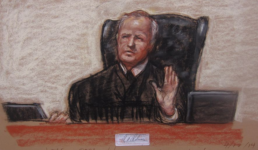 FILE - This April 17, 2014, file image shows a Pentagon-approved sketch by court artist Janet Hamlin, of Judge, Army Col. James Pohl as he halts the Sept. 11 pretrial hearing at the Guantanamo Bay U.S. Naval Base in Cuba. Pohl is expected to decide as early as Monday, Oct. 19, 2015, whether he can break the impasse and get the case moving again after it was revealed that members of Ramzi Binalshibh's defense team had been questioned by the FBI into a potential illegal breach of security rules. (AP Photo/Janet Hamlin, Pool, File)