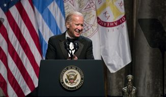 Vice President Joe Biden speaks at the annual dinner of The Order of St. Andrew the Apostle, Archons of the Ecumenical Patriarchate, after he was presented the Athenagoras Human Rights Award in New York, Saturday, Oct. 17, 2015. (AP Photo/Craig Ruttle)