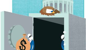 Illustration on the Obama administration's enabling of government fraud by Linas Garsys/The Washington Times