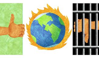 Illustration on the calls from climate change believers to jail those who don't agree with their contentions by Alexander Hunter/The Washington Times