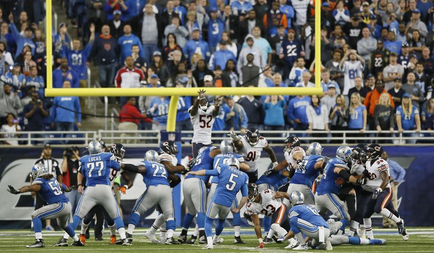 Detroit Lions kicker Matt Prater (5) kicks the game winning field goal in the overtime period to defeat the Chicago Bears 37-34 in an NFL football game, Sunday, Oct. 18, 2015, in Detroit. (AP Photo/Duane Burleson)