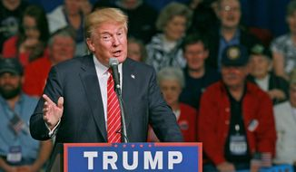 Republican presidential candidate Donald Trump speaks Monday, Oct. 19, 2015, in Anderson, S.C. (Ken Ruinard/The Independent-Mail via AP) ** FILE **