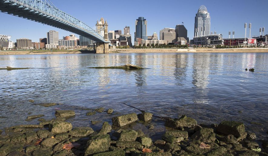 Algae coats rocks on the banks of the Ohio River overlooking downtown Cincinnati, Friday, Oct. 16, 2015, in Newport, Ky. A toxic algae outbreak that has snaked more than 600 miles down the Ohio River past four states is forcing drinking water utilities to reassess the threat from harmful algal blooms that are popping up increasingly around the nation. (AP Photo/John Minchillo)