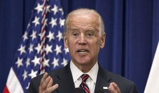 "Vice President Joe Biden speaks at the ""Summit on Climate and the Road through Paris: Business & Science Coming Together,"" Monday, Oct. 19, 2015, in the Eisenhower Executive Office Building on the White House complex in Washington. (AP Photo/Manuel Balce Ceneta) ** FILE **"