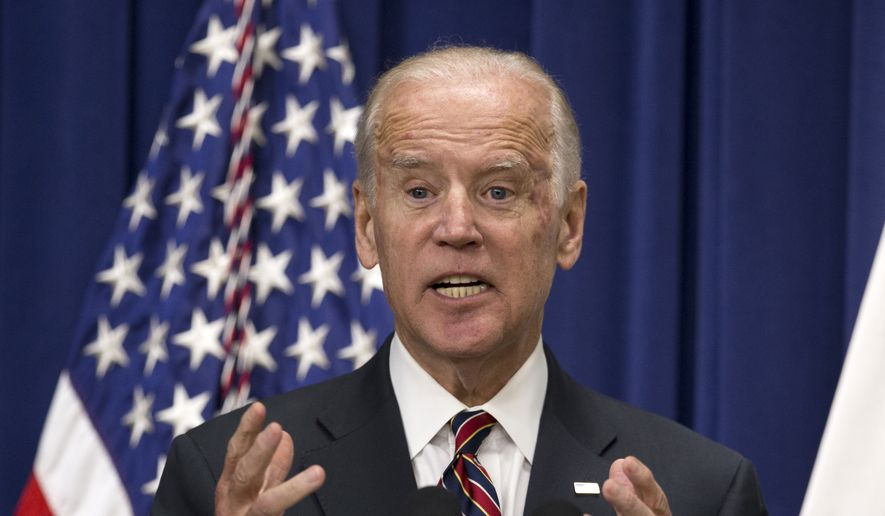 """Vice President Joe Biden speaks at the """"Summit on Climate and the Road through Paris: Business & Science Coming Together,"""" Monday, Oct. 19, 2015, in the Eisenhower Executive Office Building on the White House complex in Washington. (AP Photo/Manuel Balce Ceneta) ** FILE **"""