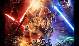 "This undated photo provided by Disney shows the poster for the new film, ""Star Wars: The Force Awakens."" ""Star Wars"" fans eagerly await the latest trailer for ""The Force Awakens,"" airing during halftime of ""Monday Night Football,"" on Oct. 19, 2015. The game starts at 5:15 p.m. PDT/8:15 p.m. EDT. (Disney via AP)"