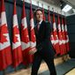 """""""Many of you have worried that Canada has lost its compassionate and constructive voice in the world over the past 10 years. Well, I have a simple message for you on behalf of 35 million Canadians. We're back,"""" Prime Minister-designate Justin Trudeau told global allies. (The Canadian Press via Associated Press)"""