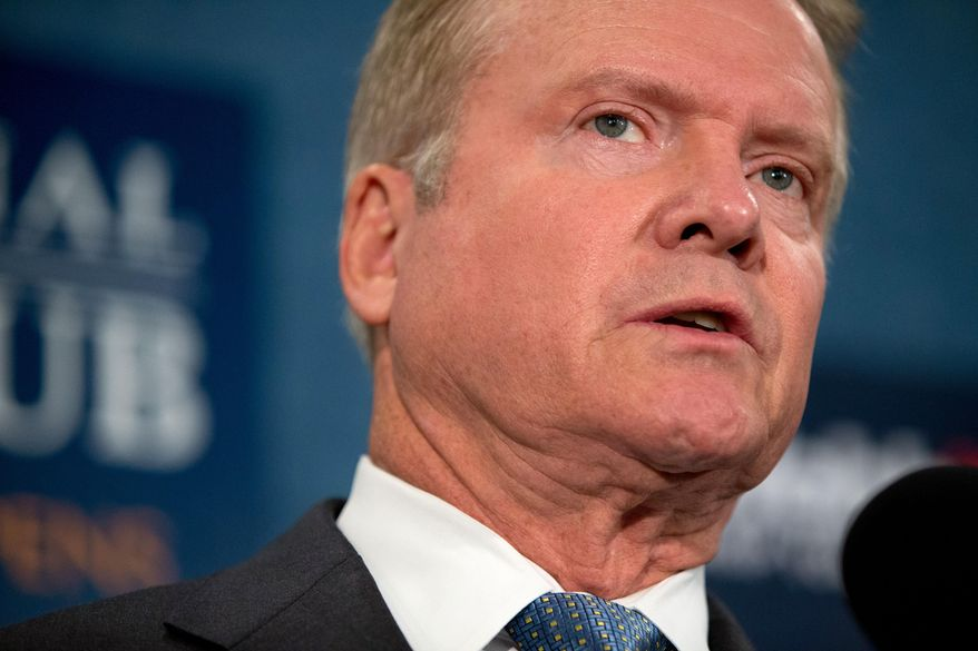 Former Virginia Sen. Jim Webb announces he will drop out of the Democratic race for president, Tuesday, Oct. 20, 2015, during a news conference at the National Press Club in Washington. (AP Photo/Andrew Harnik)