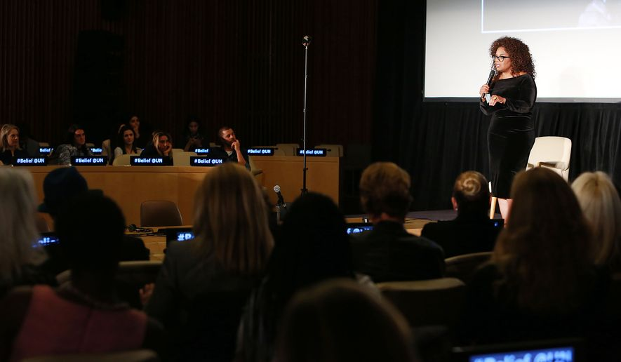 """Oprah Winfrey speaks during a special screening of Winfrey's upcoming landmark television series """"Belief"""" at the UN on Thursday, Oct. 15, 2015 in New York. """"Belief,"""" exploring faiths and cultures around the world, will air for seven consecutive nights October 18-24 on OWN: Oprah Winfrey Network. (Amy Sussman/AP Images for OWN: Oprah Winfrey Network)"""