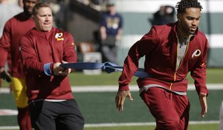 Washington Redskins wide receiver DeSean Jackson works out prior to an NFL football game against the New York Jets, Sunday, Oct. 18, 2015, in East Rutherford, N.J. (AP Photo/Seth Wenig)