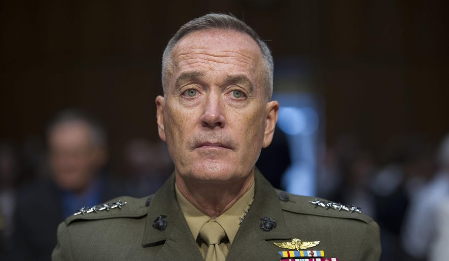 Marine Corps Commandant Gen. Joseph Dunford, Jr., testifies during his Senate Armed Services Committee confirmation hearing to become the Chairman of the Joint Chiefs of Staff, on Capitol Hill in Washington, in this July 9, 2015, file photo. The top U.S. military officer landed in Iraq Tuesday, Oct. 20, 2015, to get an update on the battle against Islamic State militants, saying he sees no prospect right now for Russia to expand its airstrike campaign into the war-torn country.(AP Photo/Cliff Owen, File)