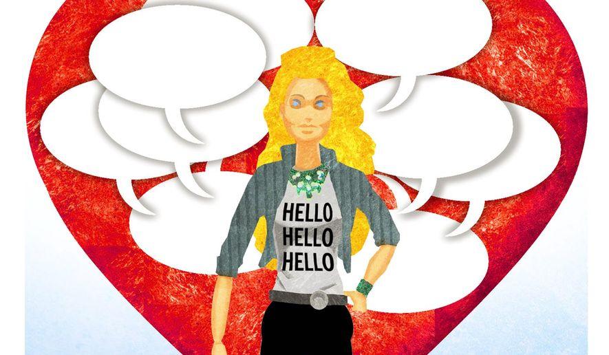 Illustration on Hello Barbie and robot companionship by Alexander Hunter/The Washington Times