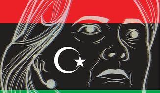Illustration on Hillary's Benghazi hearing testimony by Linas Garsys/The Washington Times
