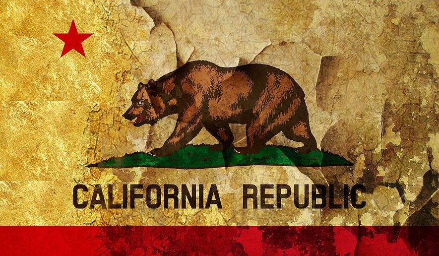 Illustration on the state of the state of California by Alexander Hunter/The Washington Times