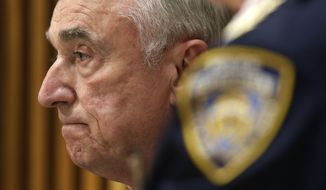New York City Police Commissioner William Bratton participates in a media briefing in New York, Wednesday, Oct. 21, 2015. A police officer responding to a report of shots fired was killed during a gunfight and chase involving a stolen bicycle, and a suspect in his slaying was in custody, police said Wednesday. (AP Photo/Seth Wenig)