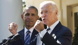 Vice President Joseph R. Biden, accompanied by President Obama, used his announcement that he will not make a bid for the White House to say that four years of college should be offered to all Americans just as 12 years of high school is today. (AP Photo)