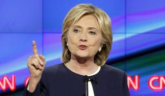 Hillary Rodham Clinton speaks during the CNN Democratic presidential debate in Las Vegas, in this Oct. 13, 2015, file photo. (AP Photo/John Locher, File)