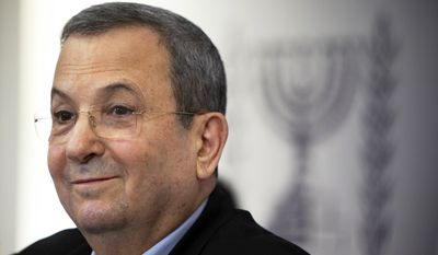 In this Nov. 26, 2012, file photo, former Israeli Prime Minister Ehud Barak speaks to the media in Tel Aviv. Barak is being sued in the U.S. over his nation's deadly raid of six Turkish boats trying to break Israel's blockage of Gaza in 2010. The Turkish parents of 19-year-old Furkan Dogan, among nine killed in the raid, sued Barak in federal court in Los Angeles on Oct. 16, 2015. (AP Photo/Oded Balilty, File)