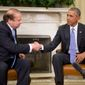 """President Obama and Pakistani Prime Minister Nawaz Sharif issued a joint statement Thursday calling for """"enhancing"""" the already """"robust"""" military-to-military relationship between Washington and Islamabad, indicating that a major weapons deal may be in the works. (Associated Press)"""