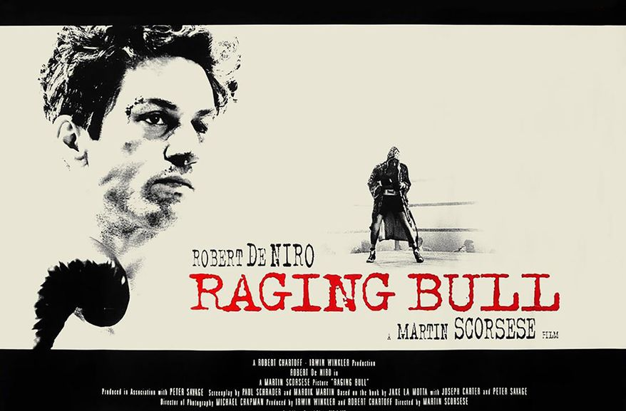#14 Raging Bull (1980)  Director: Martin Scorsese  Stars: Robert De Niro, Cathy Moriarty, Joe Pesci.   Raging Bull is a 1980 American biographical black-and-white sports drama film directed by Martin Scorsese, produced by Robert Chartoff and Irwin Winkler and adapted by Paul Schrader and Mardik Martin from Jake LaMotta's memoir Raging Bull: My Story. It stars Robert De Niro as Jake LaMotta, an Italian American middleweight boxer whose self-destructive and obsessive rage, sexual jealousy, and animalistic appetite destroyed his relationship with his wife and family. Also featured in the film are Joe Pesci as Joey, La Motta's well-intentioned brother and manager who tries to help Jake battle his inner demons, and Cathy Moriarty as his wife. The film features supporting roles from Nicholas Colasanto, Theresa Saldana and Frank Vincent. Scorsese was initially reluctant to develop the project, though he eventually came to relate to La Motta's story. Schrader re-wrote Martin's first screenplay, and Scorsese and De Niro together made uncredited contributions thereafter. Pesci was an unknown actor prior to the film, as was Moriarty, who was suggested for her role by Pesci. During principal photography, each of the boxing scenes was choreographed for a specific visual style and De Niro gained approximately 60 pounds to portray La Motta in his later post-boxing years.  After receiving mixed initial reviews (and criticism due to its violent content), it went on to garner a high critical reputation and is now regarded among the greatest American films ever made, including by Roger Ebert of the Chicago Sun-Times, Gene Siskel of the Chicago Tribune, British film historian Leslie Halliwell, the American Film Institute, Time, The New York Times, Variety, Entertainment Weekly, Empire, Total Film, Film 4, and BFI's Sight and Sound. It was listed in the National Film Registry in 1990, its first year of eligibility. Raging Bull is voted by many critics including Roger Ebert and Gene Siskel as
