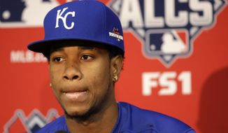 Kansas City Royals starting pitcher Yordano Ventura listens to a reporter's question during a news conference at Kauffman Stadium in Kansas City, Mo., Thursday, Oct. 22, 2015. The Royals are to face the Toronto Blue Jays in Game 6 of the ALCS on Friday. (AP Photo/Orlin Wagner)