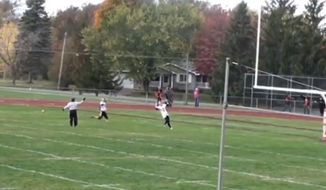 The father of a New York high school quarterback said his son, Dante Turo, was penalized for unsportsmanlike conduct after he briefly raised his finger in the air as thanks to God following a 73-yard touchdown. (Fox News screengrab)