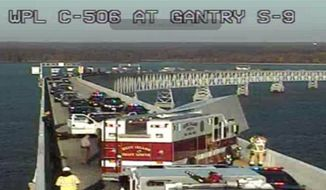 Chesapeake Bay Bridge's eastbound lanes are blocked because of a multi-vehicle accident. (Image: MDTA)