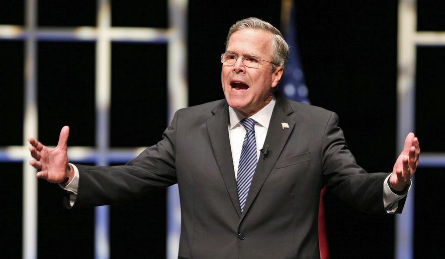 Republican presidential candidate Jeb Bush speaks during a presidential candidate forum at Regent University in Virginia Beach, Va., Friday, Oct. 23, 2015. (AP Photo/Steve Helber) ** FILE **