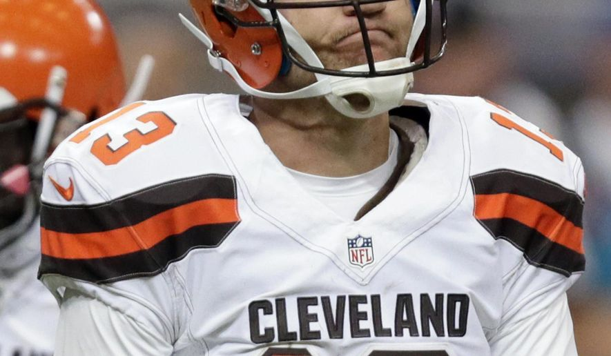 Cleveland Browns quarterback Josh McCown looks to the sideline during the third quarter of an NFL football game against the St. Louis Rams, Sunday, Oct. 25, 2015, in St. Louis. (AP Photo/Tom Gannam)