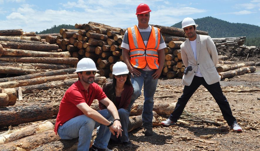 In this July 2015 photo, from left, Good Earth Power AZ CEO Jason Rosamond, group vice president Maya Minkova, mill manager Jeremy Johnson and Fayez Al Nassar, a partner and shareholder, show off the company's soon-to-open Williams lumber mill in Williams, Ariz. Portland, Oregon-based timber manager Campbell Global filed a lawsuit last month in U.S. District Court in Oregon against Good Earth Power AZ, accusing Good Earth Power of breaching a contract. (Emery Cowan/Arizona Daily Sun via AP)