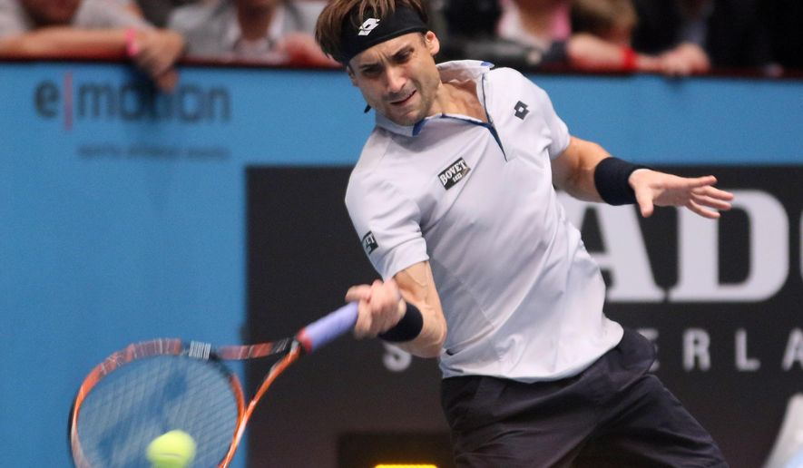 David Ferrer of Spain returns the ball to Steve Johnson of the United States during their final match at the Erste Bank Open tennis tournament in Vienna, Austria, Sunday, Oct. 25, 2015. (AP Photo/Ronald Zak)