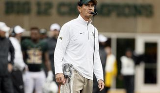 Baylor head coach Art Briles watches late in the second half of an NCAA college football game against Iowa State Saturday, Oct. 24, 2015, in Waco, Texas. Baylor won 45-27. (AP Photo/Tony Gutierrez)