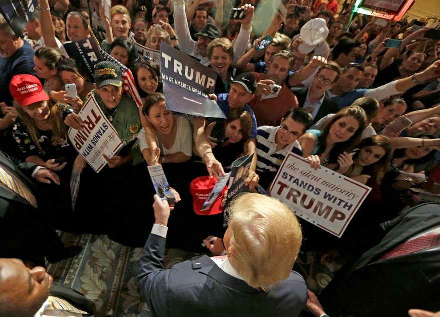 Money machine: Republican presidential front-runner Donald Trump has been receiving unsolicited cash donations from those eager to cast their votes for him in the 2016 election despite the billionaire declaring from the get-go he would self-finance his own campaign with his significant wealth. (Associated Press)