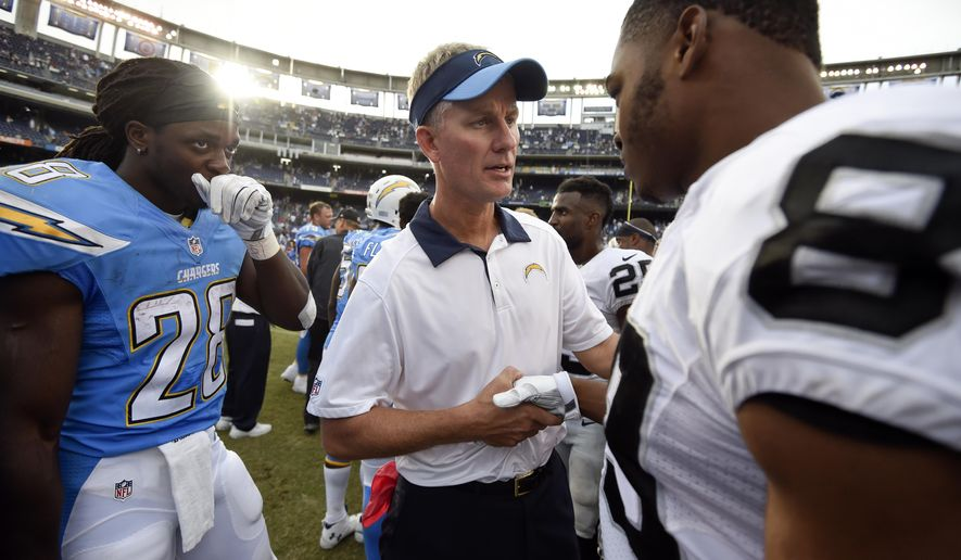 Oakland Raiders wide receiver Amari Cooper, right, shakes hands with San Diego Chargers head coach Mike McCoy as Chargers running back Melvin Gordon (28) looks on after an NFL football game Sunday, Oct. 25, 2015, in San Diego. The Raiders won 37-29. (AP Photo/Denis Poroy)
