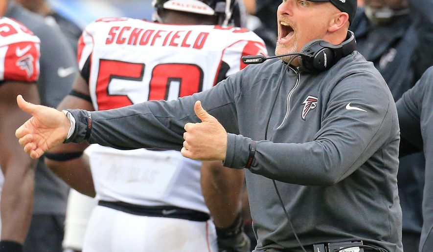 Falcons head coach Dan Quinn reacts to a defensive stop against the Titans during the second half on the way to a 10-7 victory in a football game on Sunday, Oct. 25, 2015, in Nashville. (Curtis Compton/Atlanta-Journal Constitution via AP) MARIETTA DAILY OUT, GWINNETT DAILY POST OUT, LOCAL TV OUT (WXIA, WGCL, FOX 5)